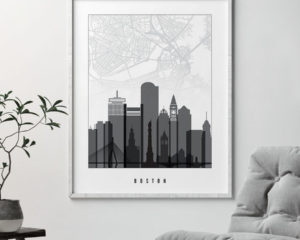 Boston map print poster black white second