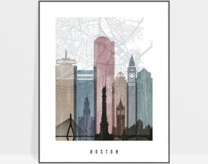 Boston map print poster distressed 1