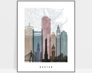 Boston map print poster distressed 1