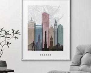Boston map print poster distressed 1 second