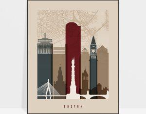 Boston map print poster earth tones 2