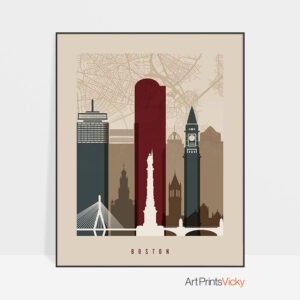 Boston map print poster earth tones 2