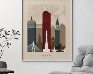 Boston map print poster earth tones 2 second