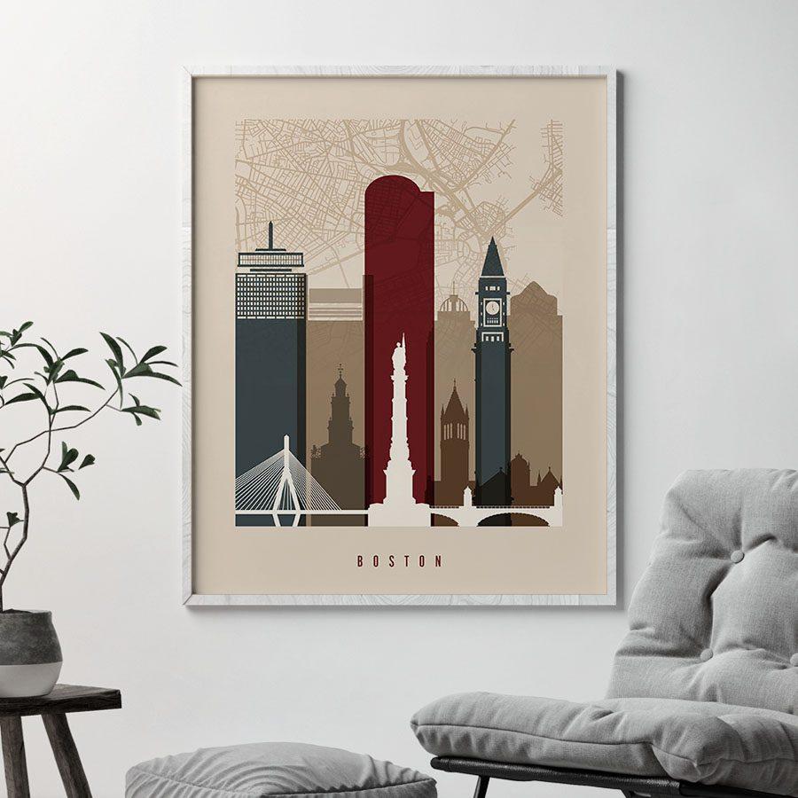 Boston map print poster earth tones 2 second