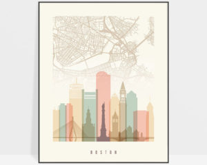 Boston map print poster pastel cream
