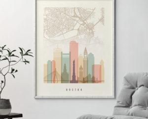 Boston map print poster pastel cream second