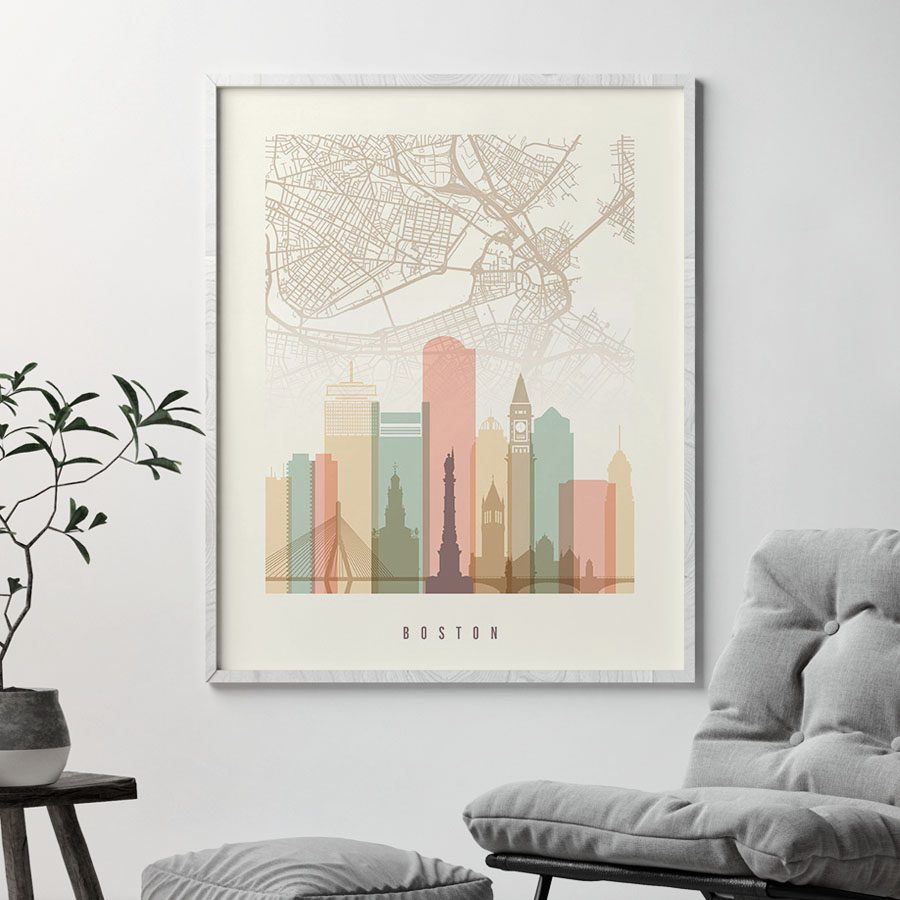 Boston map print poster pastel cream second