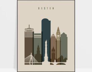 Boston art print earth tones 3