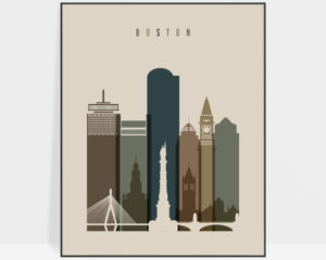 Boston art print earth tones 3
