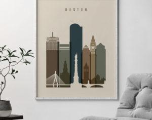 Boston art print earth tones 3 second