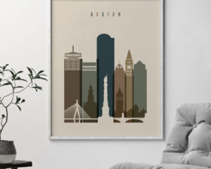 Boston art print earth tones 3 second