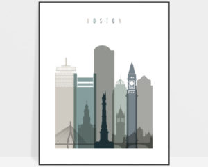 Boston art print skyline earth tones 4