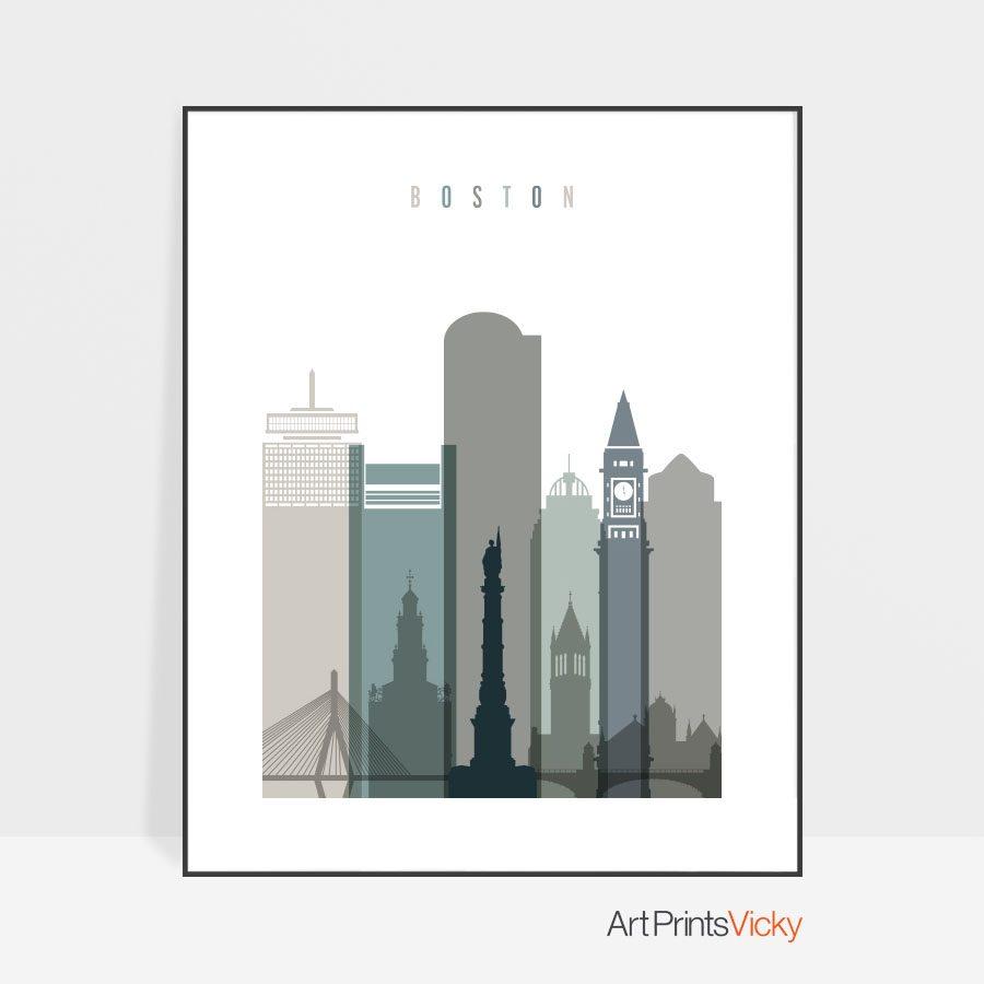Boston art print skyline earth tones 4