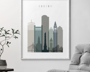 Boston art print skyline earth tones 4 second
