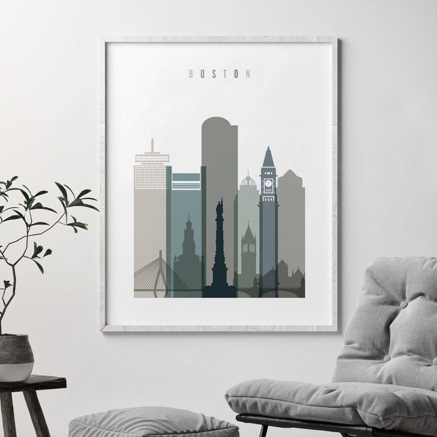 Boston art print skyline earth tones 4 second