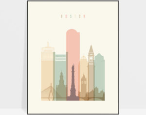Boston art print skyline pastel cream