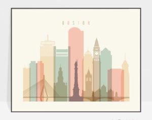 Boston poster skyline pastel cream landscape