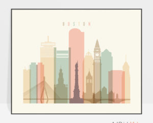 Boston poster skyline pastel cream landscape