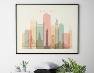 Boston poster skyline pastel cream landscape second