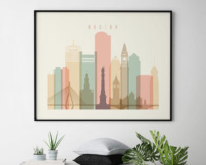 Boston poster skyline pastel cream landscape second