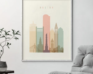 Boston art print skyline pastel cream second
