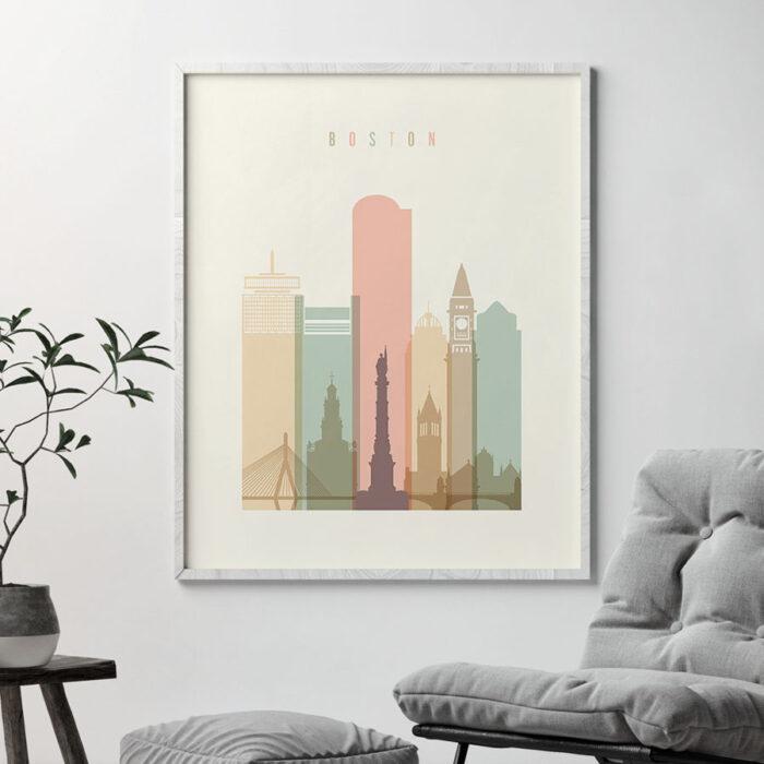 Boston art print skyline pastel cream second