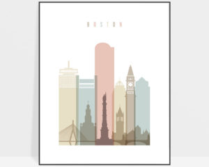 Boston wall art pastel white