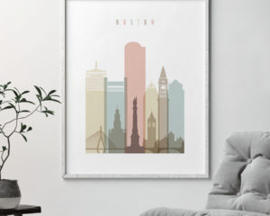 Boston wall art pastel white second