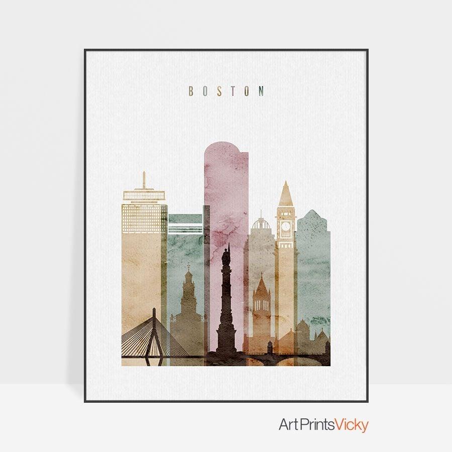 Boston skyline art print watercolor 1