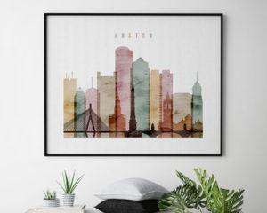 Boston skyline print watercolor 1 landscape second