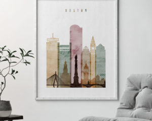 Boston skyline art print watercolor 1 second