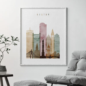 Boston skyline art print watercolor 1 second