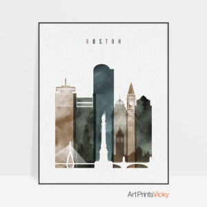 Boston wall art print watercolor 2