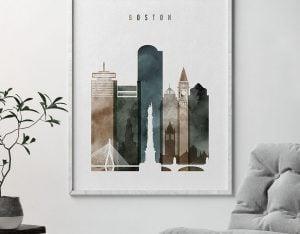 Boston art print watercolor 2 second