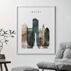 Boston art print watercolor 2 second