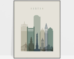 Boston print skyline earth tones 1
