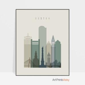 Boston print skyline earth tones 1