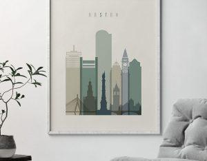 Boston print skyline earth tones 1 second