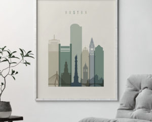 Boston print skyline earth tones 1 second