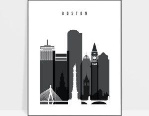 Boston skyline black and white art