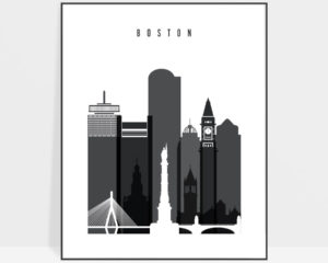 Boston skyline black and white art