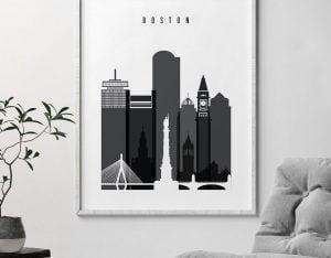 Boston skyline black and white art second