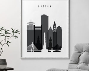 Boston skyline black and white art second