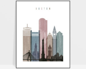 Boston skyline poster distressed 1