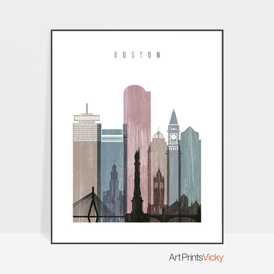 Boston skyline poster distressed 1