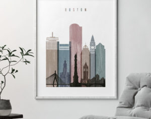 Boston skyline poster distressed 1 second