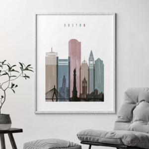 Boston skyline poster distressed 1 second