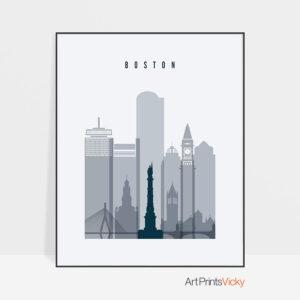 Boston skyline poster grey blue