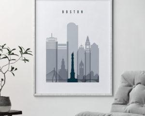 Boston skyline poster grey blue second