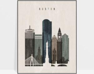 Boston skyline print distressed 2